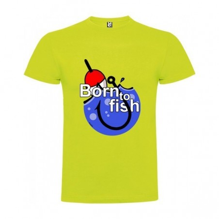 Camiseta Pesca Born to Fish Manga Corta Hombre Color Pistacho Talla XL
