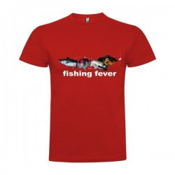 Camiseta Pesca Fishing Fever Manga Corta Hombre Color Rojo Talla XL
