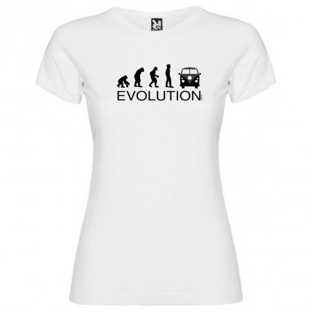 Camiseta Deportes Extremos Evolution Surf California Van Manga Corta Mujer