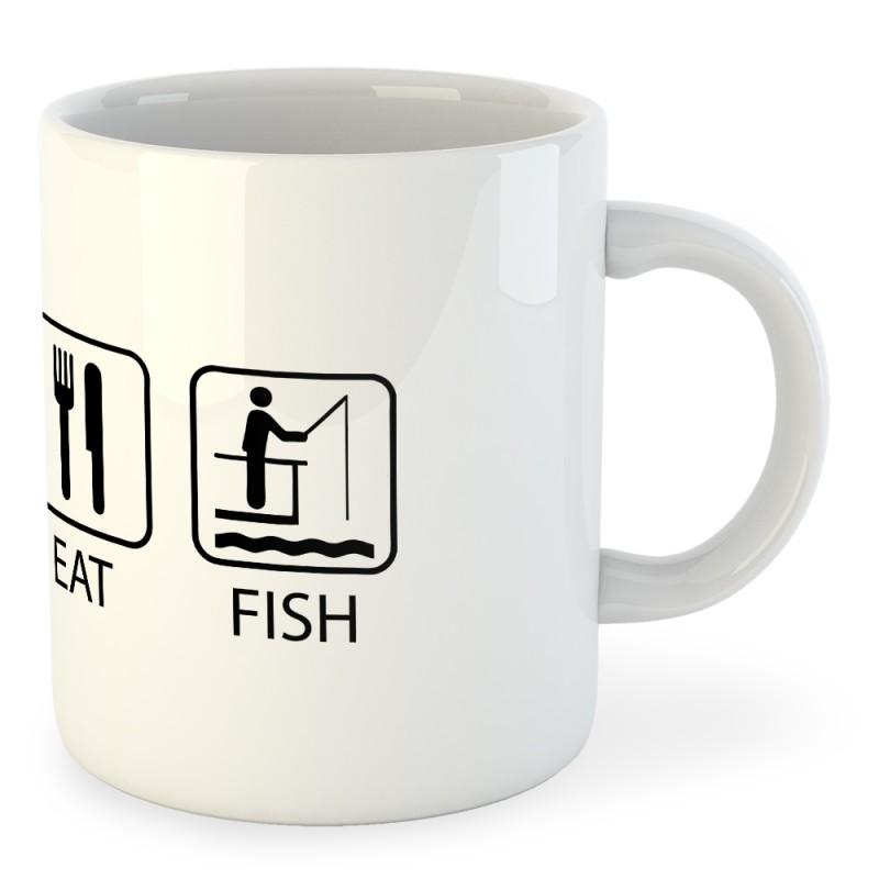 Taza de pesca Sleep Eat and Fish